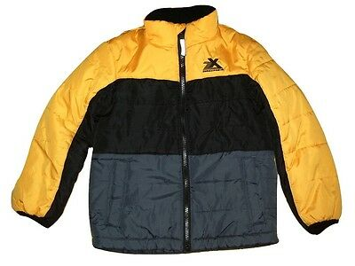 zeroXposur Boys Quilted Puffa Jacket & Beanie Hat Black Grey/Blue & Yellow XSNEW