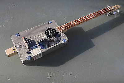 Cigar Box Guitar by Chickenbone John, electric 3 string, distressed paint finish