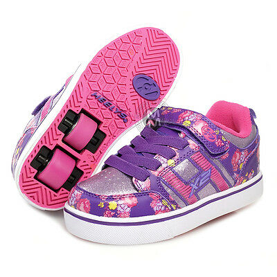 Heelys Bolt X2 Purple/Pink/Floral with Flashing Lights! Size Junior 12