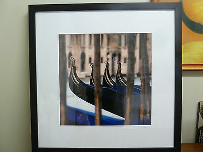 Framed digital Photograph of Venetian Gondolas singed