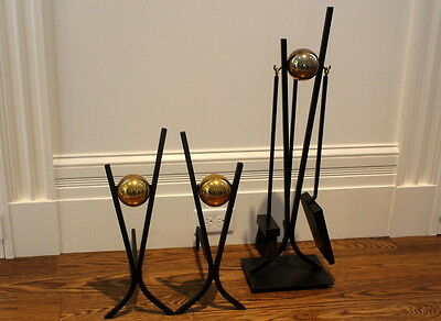 Modernist Brass & Iron Andirons and Fireplace Tools Attributed to Donald Deskey