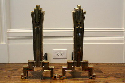 "Art Deco Brass and Iron Andirons.  Marked ""1912""."