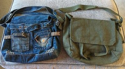 Two Across The Body Bags Denim And Khaki