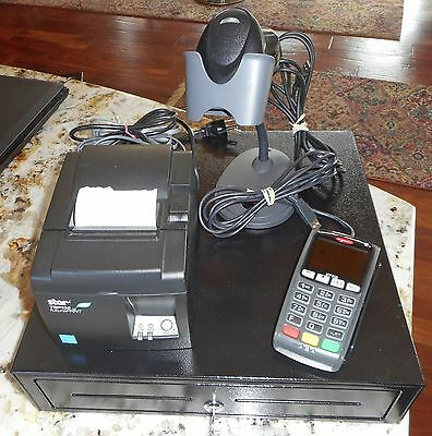 4 Component POS System Includes Thermal Printer, Card Reader, Scanner, Cash Box