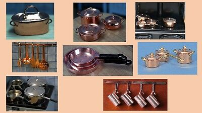 1:12 scale dolls house miniature copper kitchen accessories 6 to choose from.