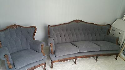 French Antique Louis XV/ Rococo Style 3 Seater Sofa and Chair Stunning pieces