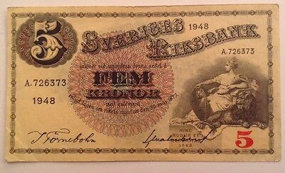 Sweden Banknote. 5 Kronor. Dated 1948