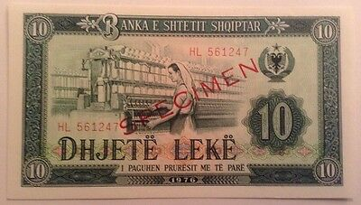 Albania Banknote. Ten Leke. Specimen. Dated 1976