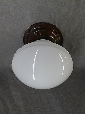 Vtg Art Deco Brass Ceiling Light Fixture Greek Key Kitchen Milk Glass 2185-16