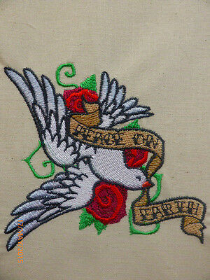 Peace On Earth Dove/Roses Tattoo ~ Embroidered Quilt Block/Panel