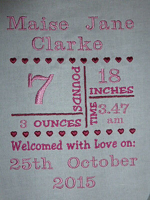 Birth Announcement Heart Grid ~ Embroidered  Quilt Block/Panel - Personalised