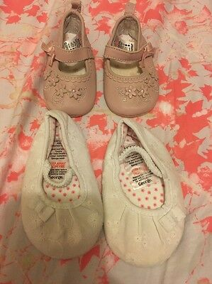 Baby Girl Shoes. White George Size 9-12 Months & Pink Next Approx 3-6months