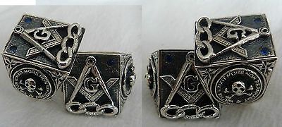 Masonic  SILVER- Odd Fellows Square Compass Blue Lodge Member Vintage Ring