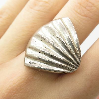 Mexico 925 Sterling Silver Unique Wide Seashell Modernist Ring Size 7