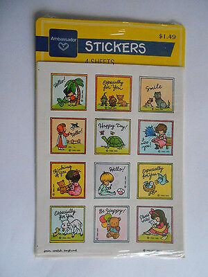 VTG Hallmark NIP 4 sheets of Stickers - 1985 JOAN WALSH ANGLUND - Ambassador