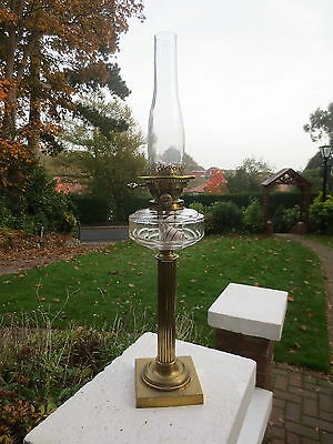 Antique Victorian Hinks Duplex Oil Lamp With Chimney