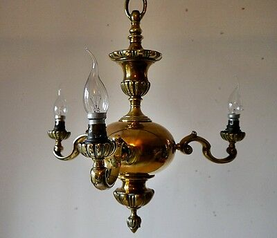 VINTAGE FLEMISH DUTCH 3 BRANCH BRASS CHANDELIER CEILING LIGHT LAMP 1930s OLD