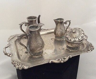 Miniature 5 Piece Tea Set 835 Silver Denmark Hallmarked, 156 Grams