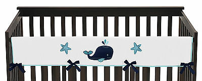 Sweet Jojo Blue Whale Front Rail Guard Crib Cover Baby Teething Protector Wrap
