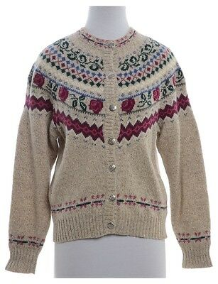 Vintage Nordic Fair Isle Knitted Cardigan Beige Size M