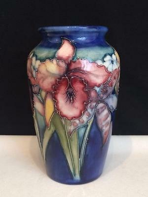 E3577 William Moorcroft Rare Orchid Flower Vase Cobalt With Spring Flowers