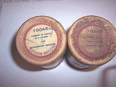 2 Edison Phonograph 2 Minute Cylinder Records Ob/lids #10045 + #10200