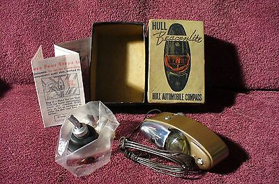 VINTAGE HULL BEACONLITE LIGHTED COMPASS  AUTO DASH DASHBOARD 40s 50s ACCESSORY