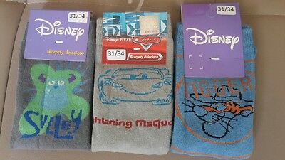LOT Chaussettes Disney TIGROU, CARS, SULLEY taille 31-34