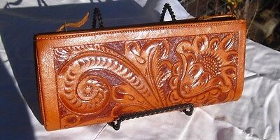 Vintage hand tooled Mexican double zipper wallet purse clutch