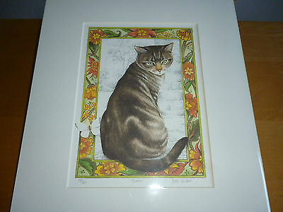 Thomas / Limited Edition Mounted Signed Tabby Cat Print Artist David Faulkener