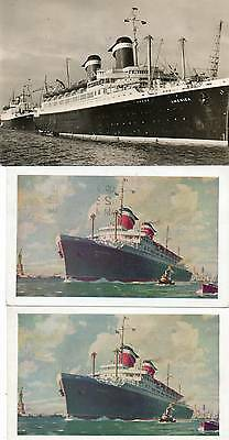 3 OLD POSTCARDS of S.S.AMERICA