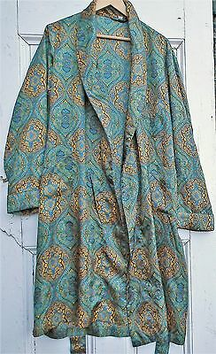 MENS VINTAGE PAISLEY DRESSING GOWN ROBE TRICEL 60s 70s BLUE GREEN Smoking Jacket