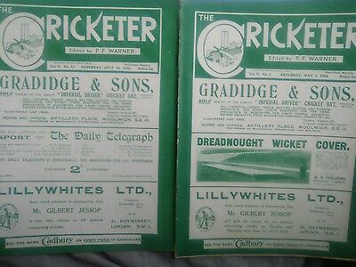The cricketer Magazine May 1924 and July 1924