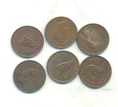 Very Nice Rare.british.farthings.1938.1939.1940.1941.1942.1943 Collectable.r.105