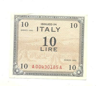 VERY RARE.Italy WWII Allied Military Currency issue 10 Lira note dated 1943.