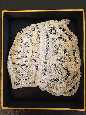 antique lace cap bonnet Belgian Old stock Handmade New condition.