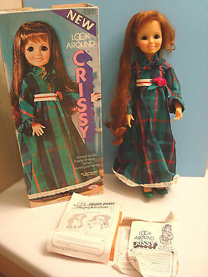Ideal Look Around Crissy Doll w/ Green Holiday Dress (Box and Instructions)