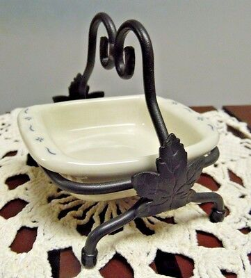 Longaberger Collector's Club Miniature Casserole and Wrought Iron Stand