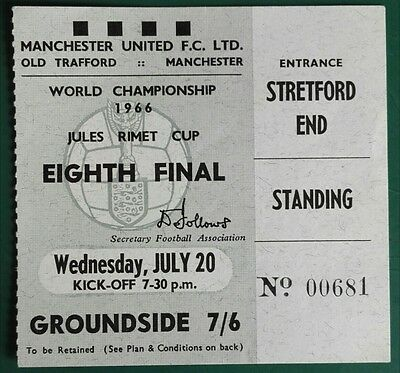 1966 WORLD CUP MATCH TICKET  BULGARIA vs.HUNGARY  @ OLD TRAFFORD MANCHESTER UTD