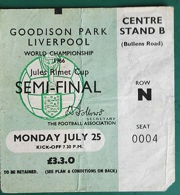 1966 WORLD CUP MATCH TICKET  USSR vs. WEST GERMANY. SEMI FINAL - @ GOODISON PARK