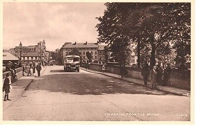 Early COLERAINE from the bridge - houses, early buses, people, Valentine's