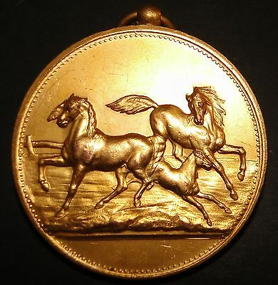 LARGE ANTIQUE FRENCH GILDED BRONZE HORSE MEDAL by BLONDELET 55mm