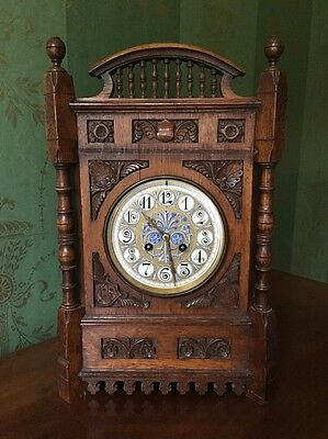 Mantle Clock Aesthetic Movement Late 19th Century Oak Cased Lewis Day