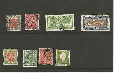 Iceland early selection of used stamps (7) and mounted mint (1) on stockcard
