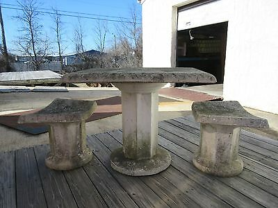 Vinatge Mid Century Concrete Garden Patio French Regency Dining Table 2 Benches