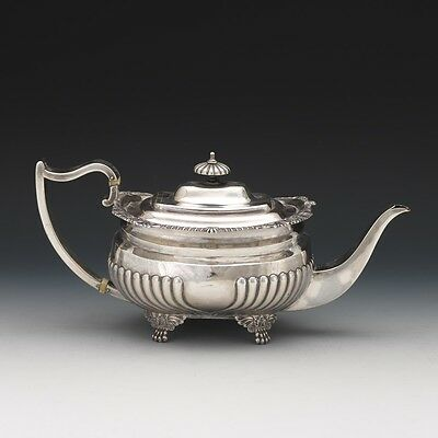 George III Sterling Silver Gadrooned Tea Pot by Crispin Fuller, London, dated 18
