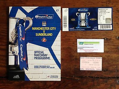 Manchester City v Sunderland Capital One Cup Final & Ticket + Extras all Mint