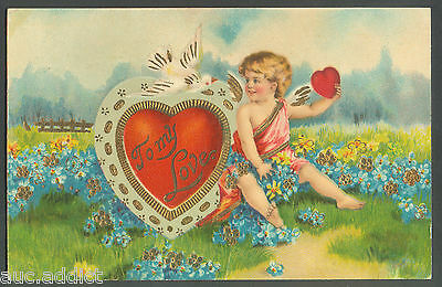 Antique Victorian German Embossed Valentines Day Postcard Cupid To My Love