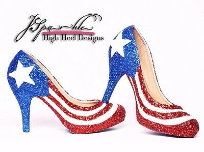 Puerto Rican Flag Custom Low High Heels Glitter