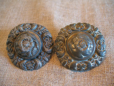 Pair Antique Horse Brass Driving Bridle Rosettes – Faux-Armorial Floral Swags